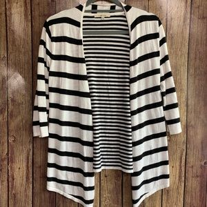 3/$25 41 Hawthorn Striped Open Front Knit Cardigan